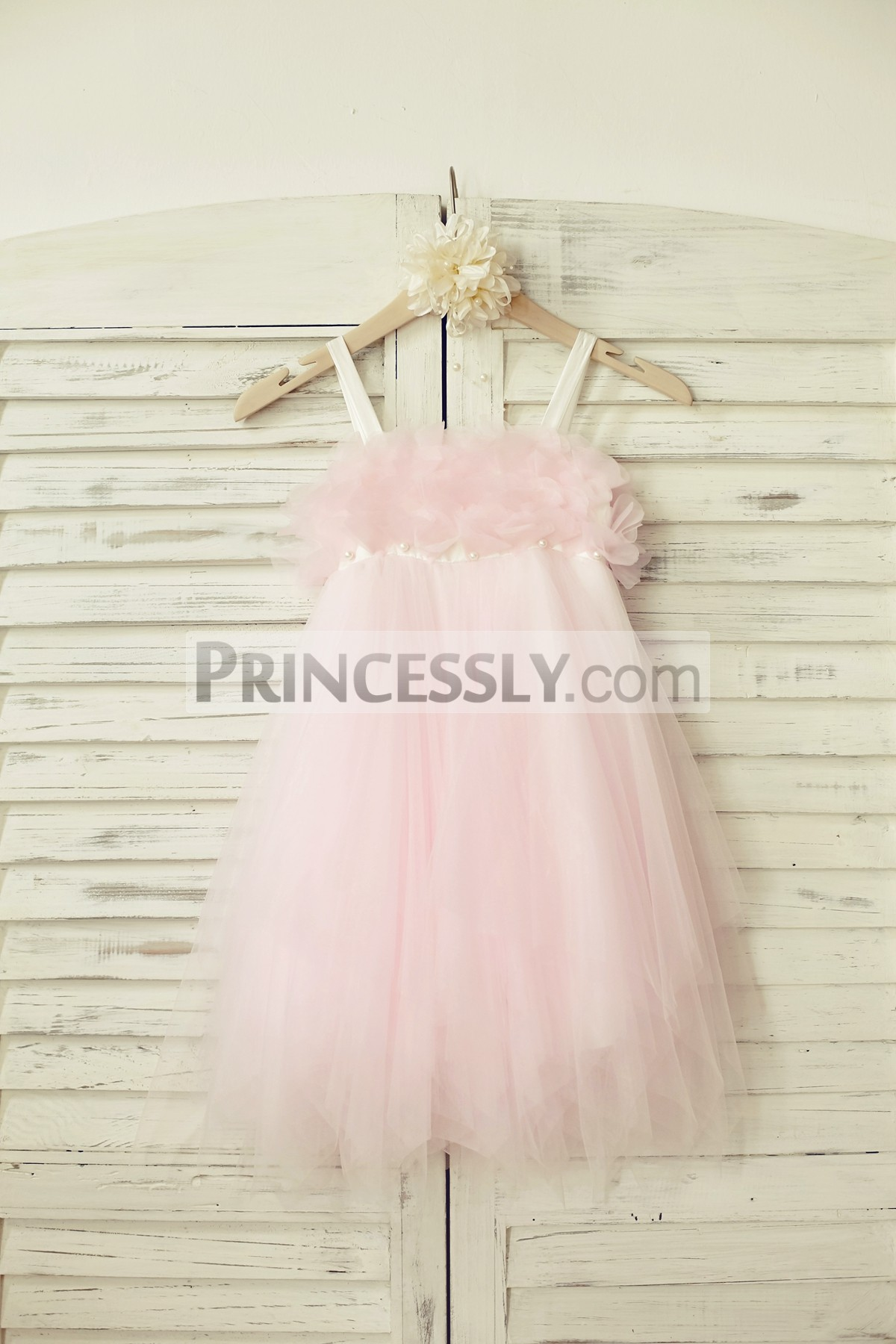 Ivory satin straps pink tulle boho style wedding flower girl dress