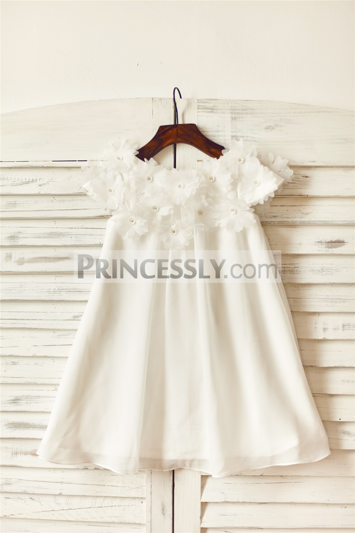 Beaded flowers cap sleeves ivory chiffon flower girl dress