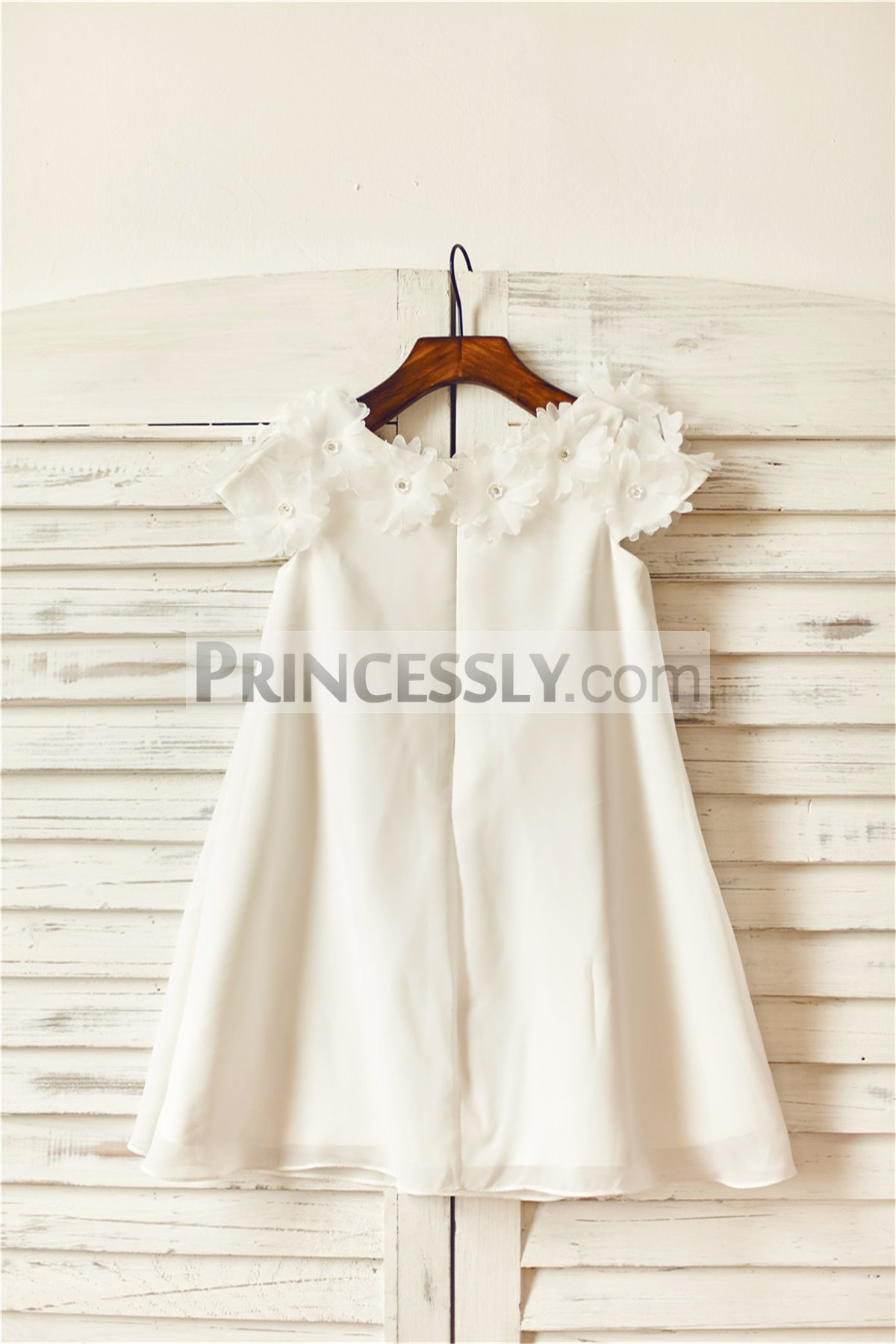 Boho beach ivory chiffon flow wedding baby girl dress