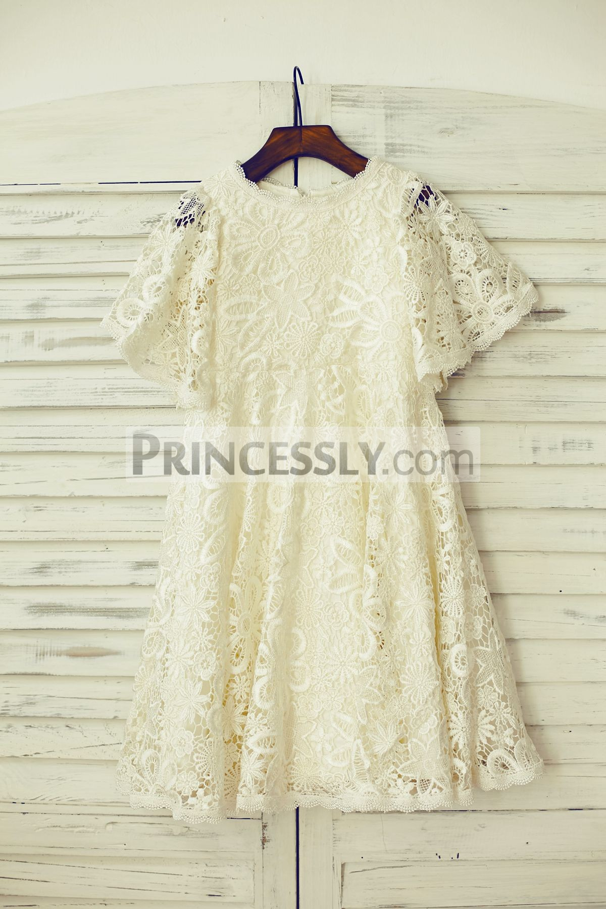 Light champagne crochet lace puffy sleeves flower girl dress