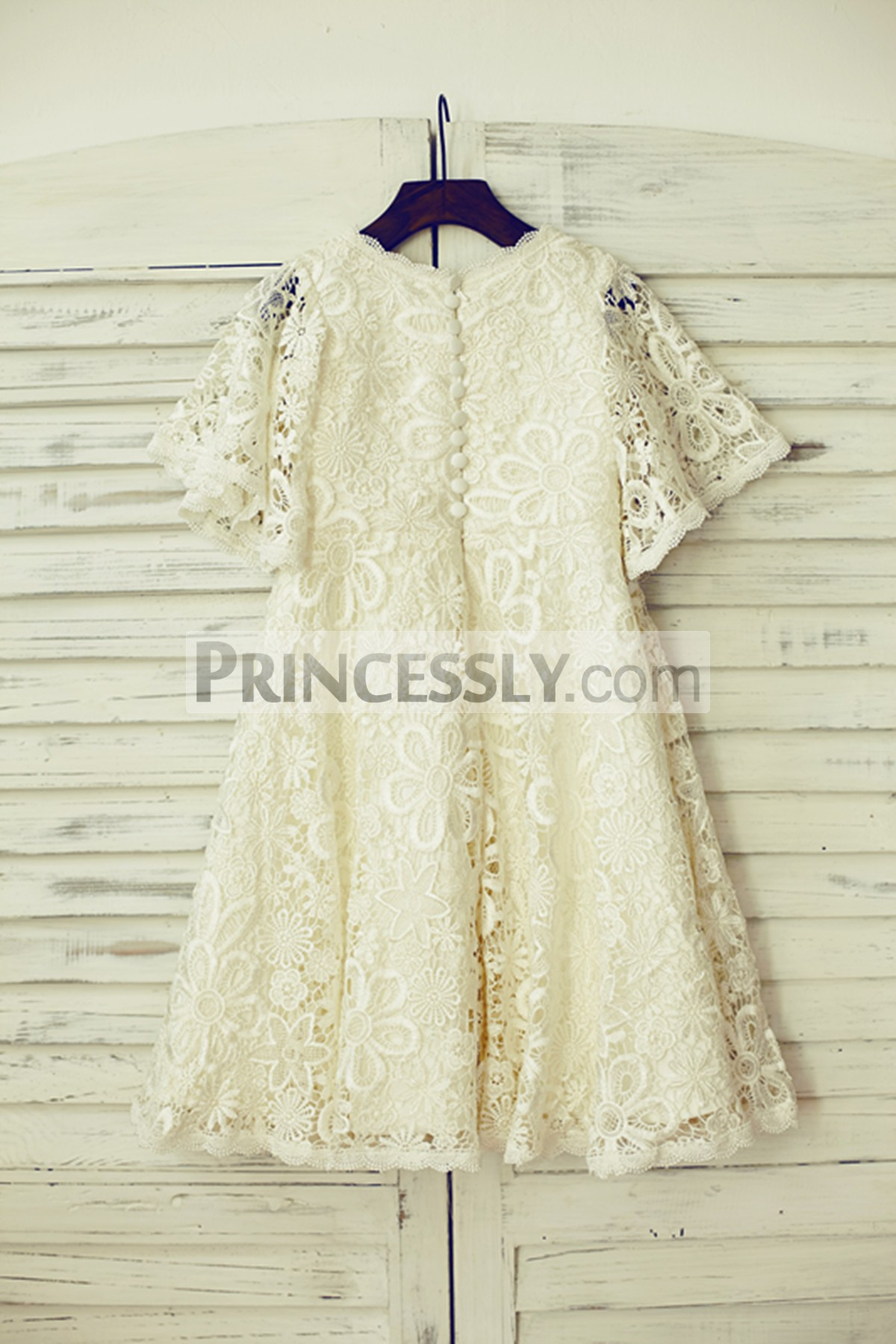 Buttoned light champagne crochet lace wedding baby girl dress