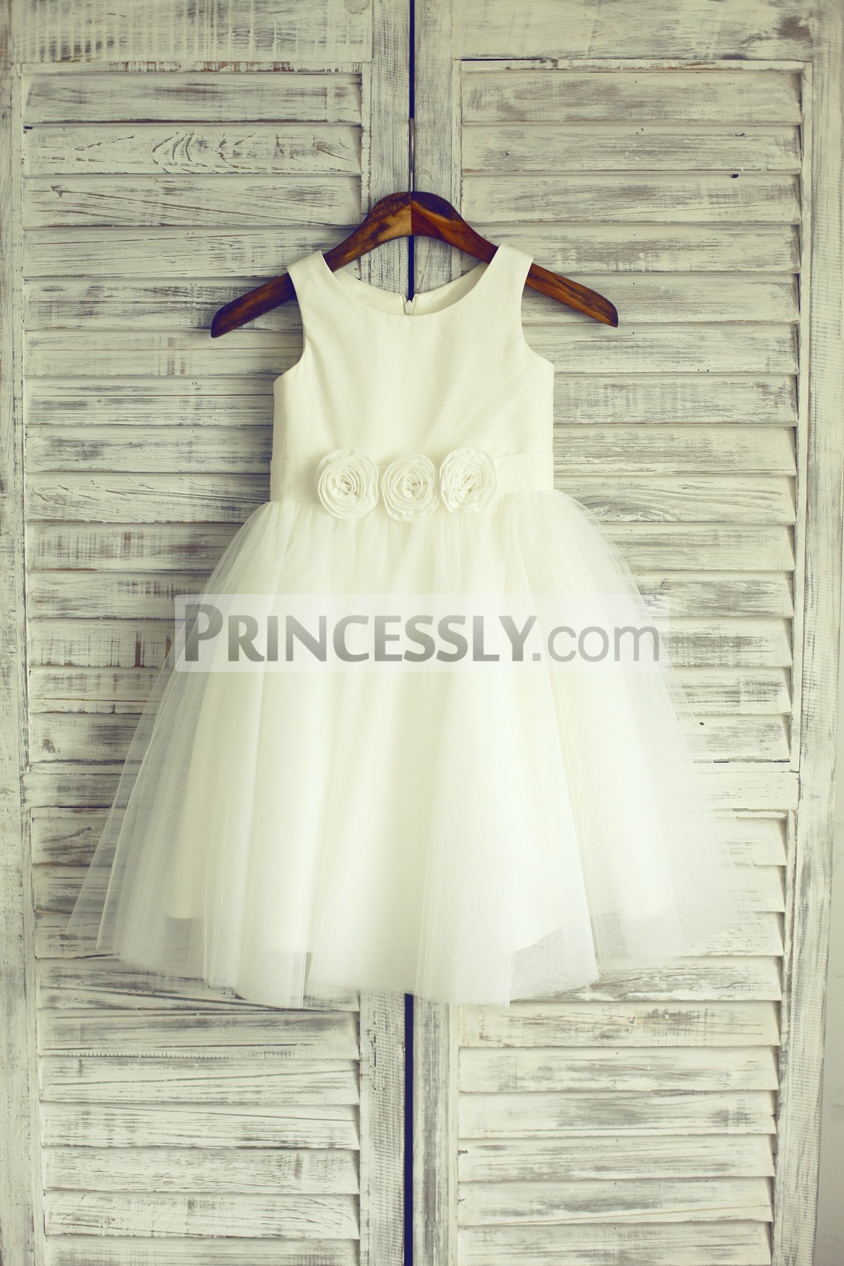Ivory satin tulle flower girl dress with flowers sash