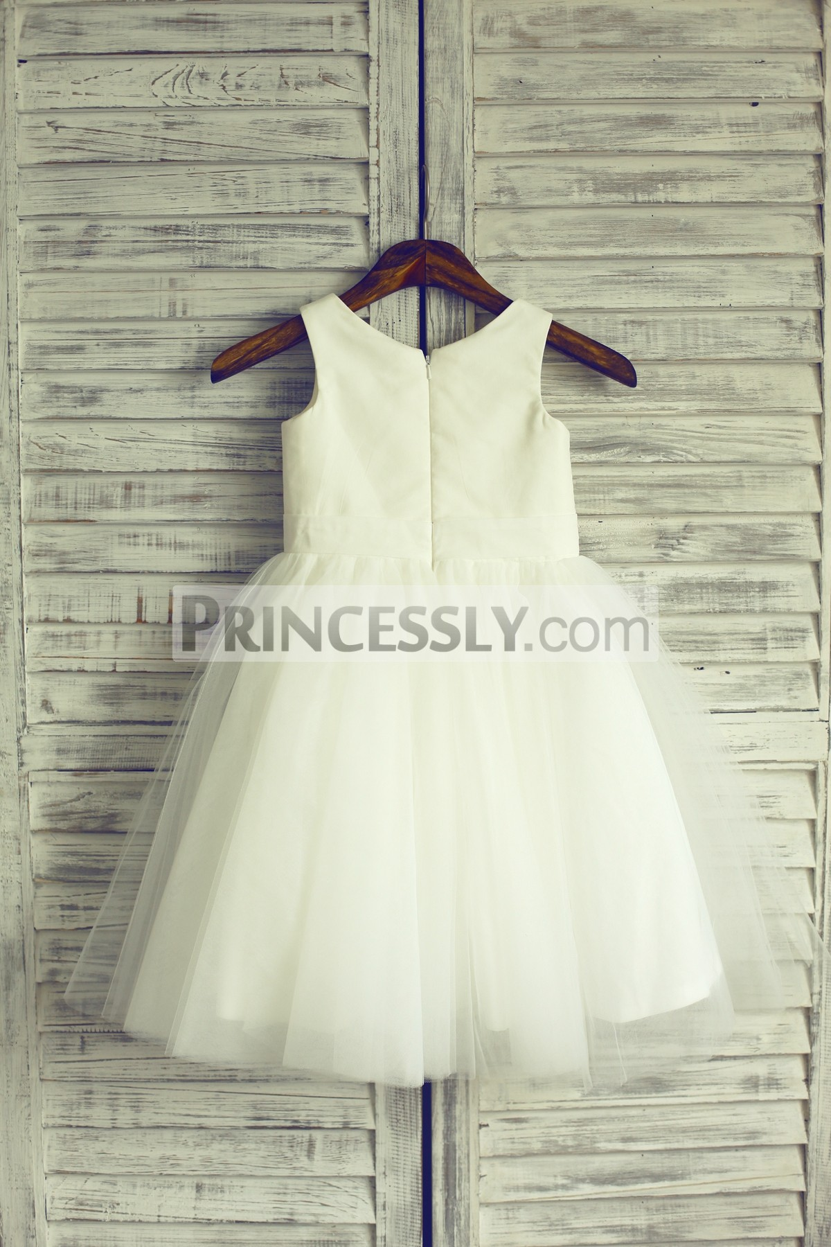 Scoop neck sleeveless ivory satin tulle wedding baby girl dress