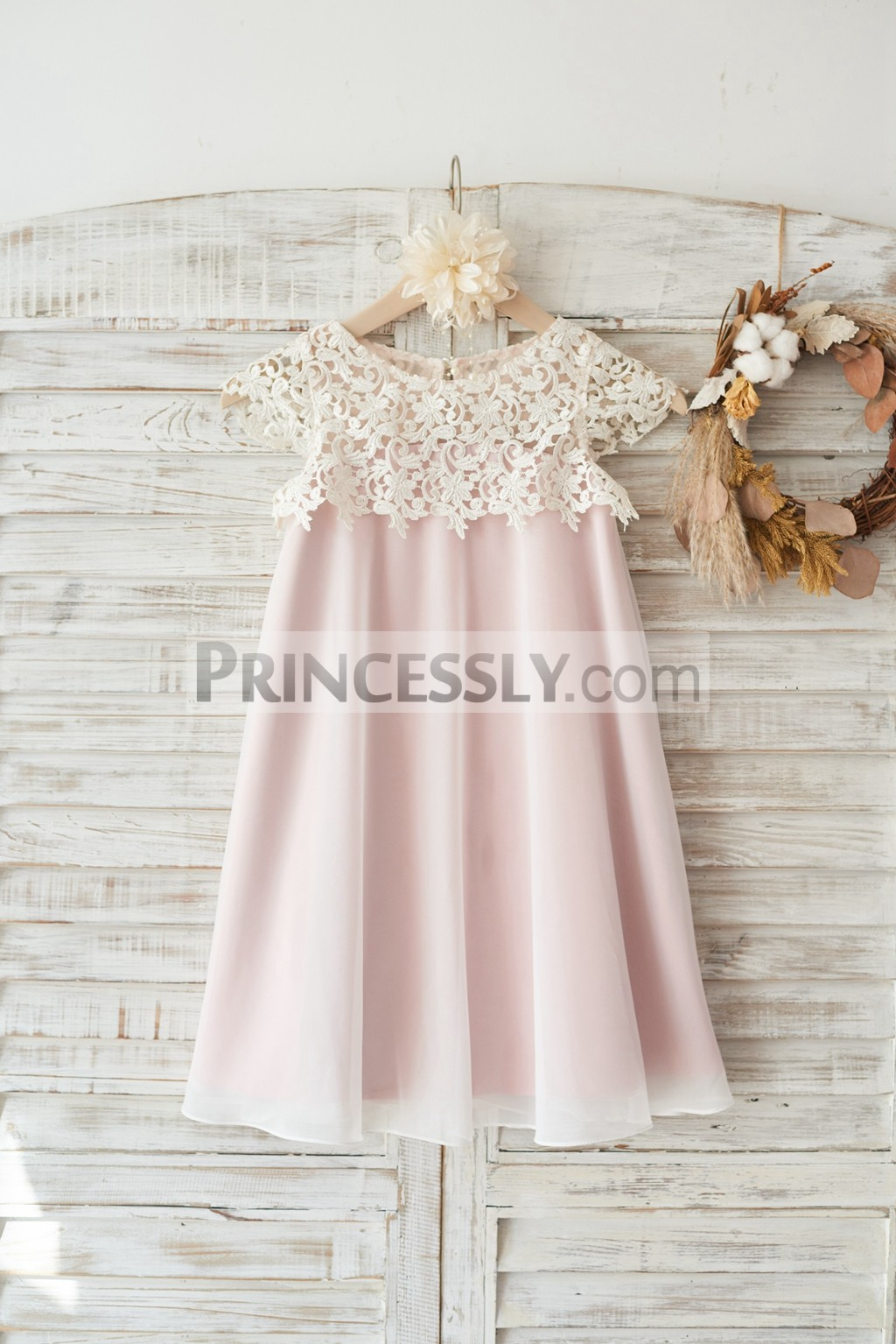 Crochet lace pink lining sheer chiffon boho flower girl dress