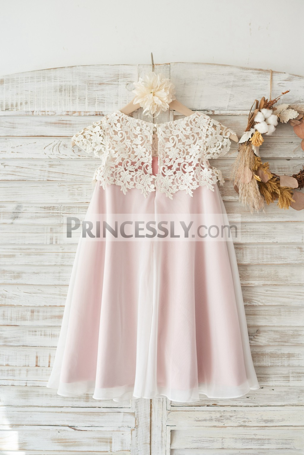 Ivory lace top chiffon skirt wedding little girl dress