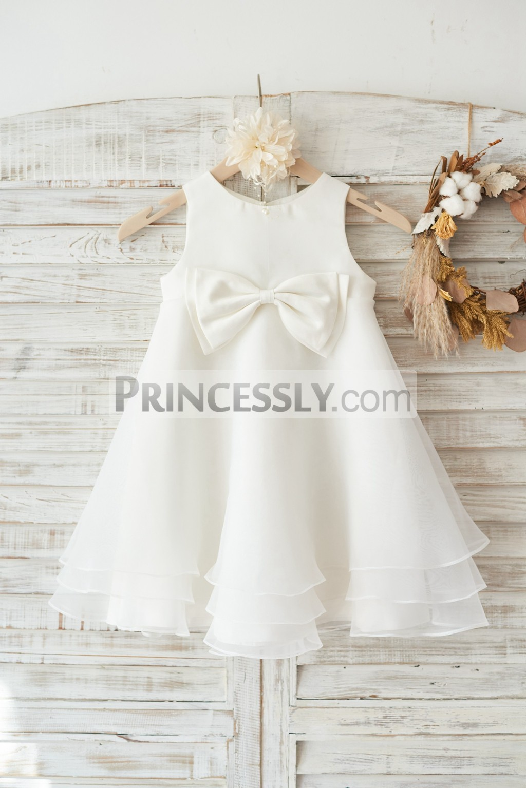 Ivory satin organza layered flower girl dress with bow