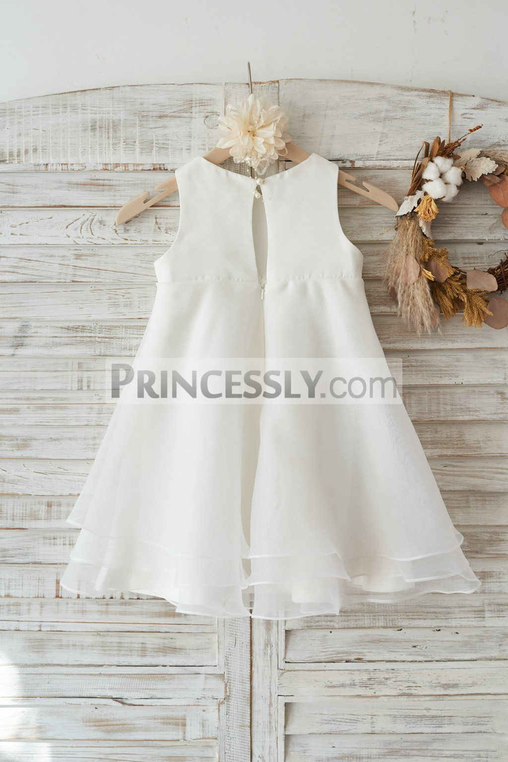 Slit back with a pearl ivory satin organza wedding baby girl dress