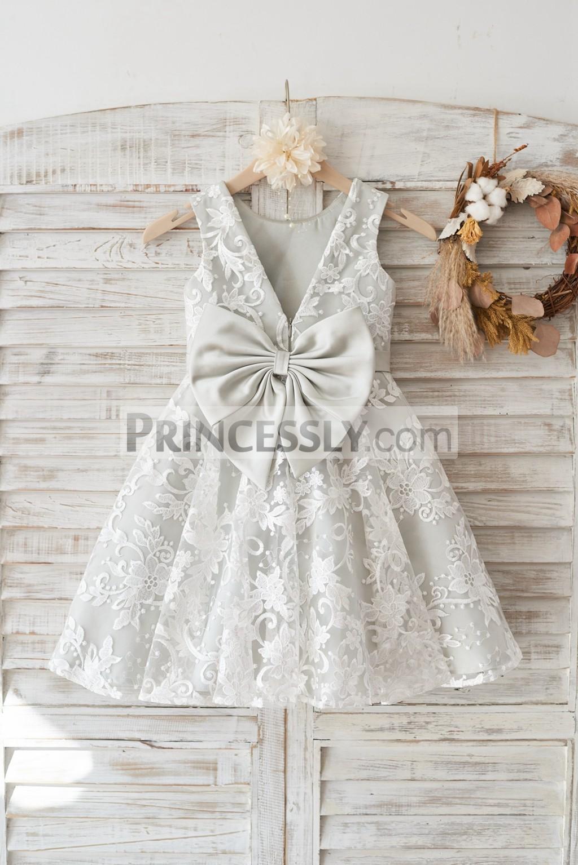 Ivory lace silver lining deep v back flower girl dress with belt deep v back with big bow ivory lace silver lining wedding baby girl dress mightylinksfo
