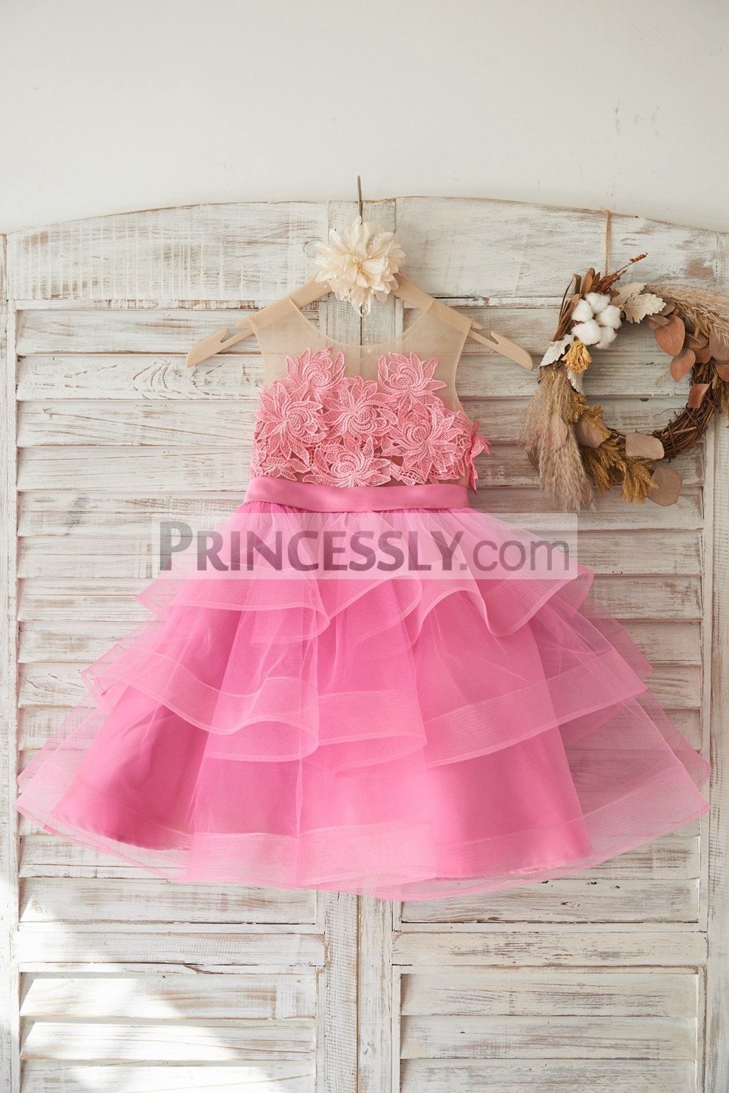 Fuchsia Lace Applique Layered Cupcake Tulle Flower Girl Dress With