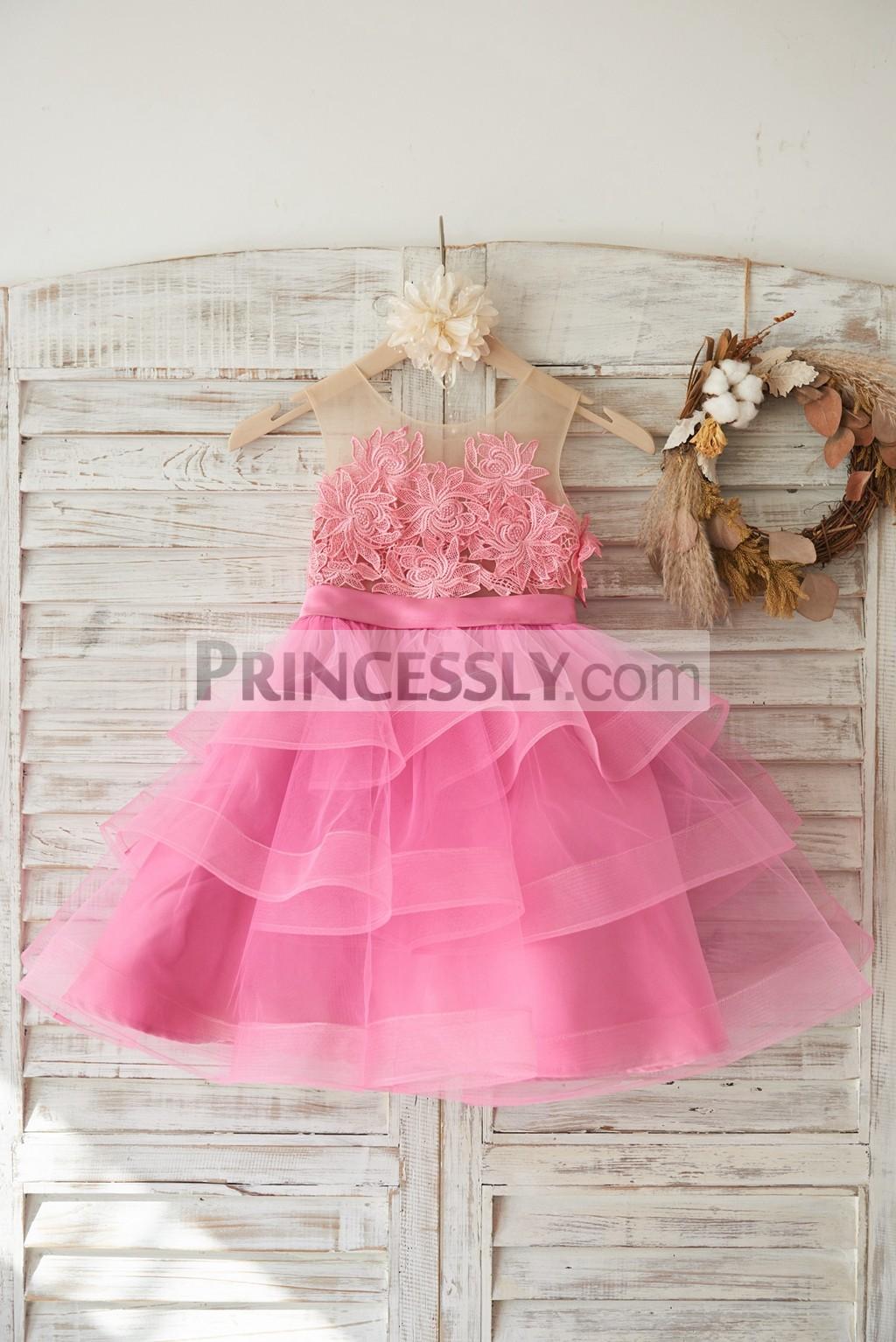 Fuchsia cotton lace applique cupcake tulle flower girl dress