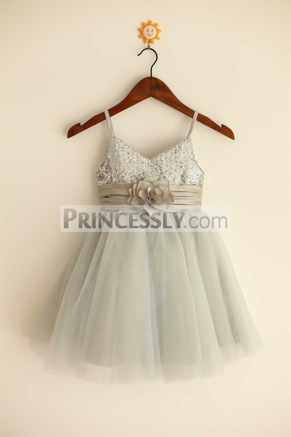 Spaghetti straps silver sequins gray tulle flower girl dress