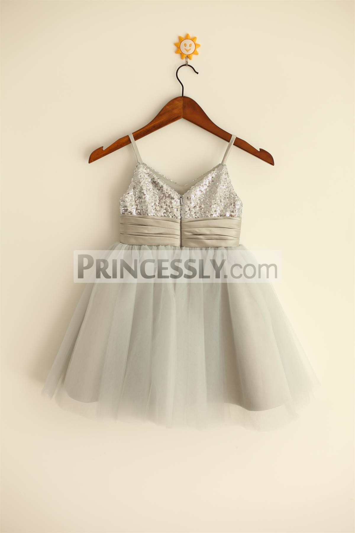 V neck silver sequins gray tulle wedding baby girl dress with satin waistband