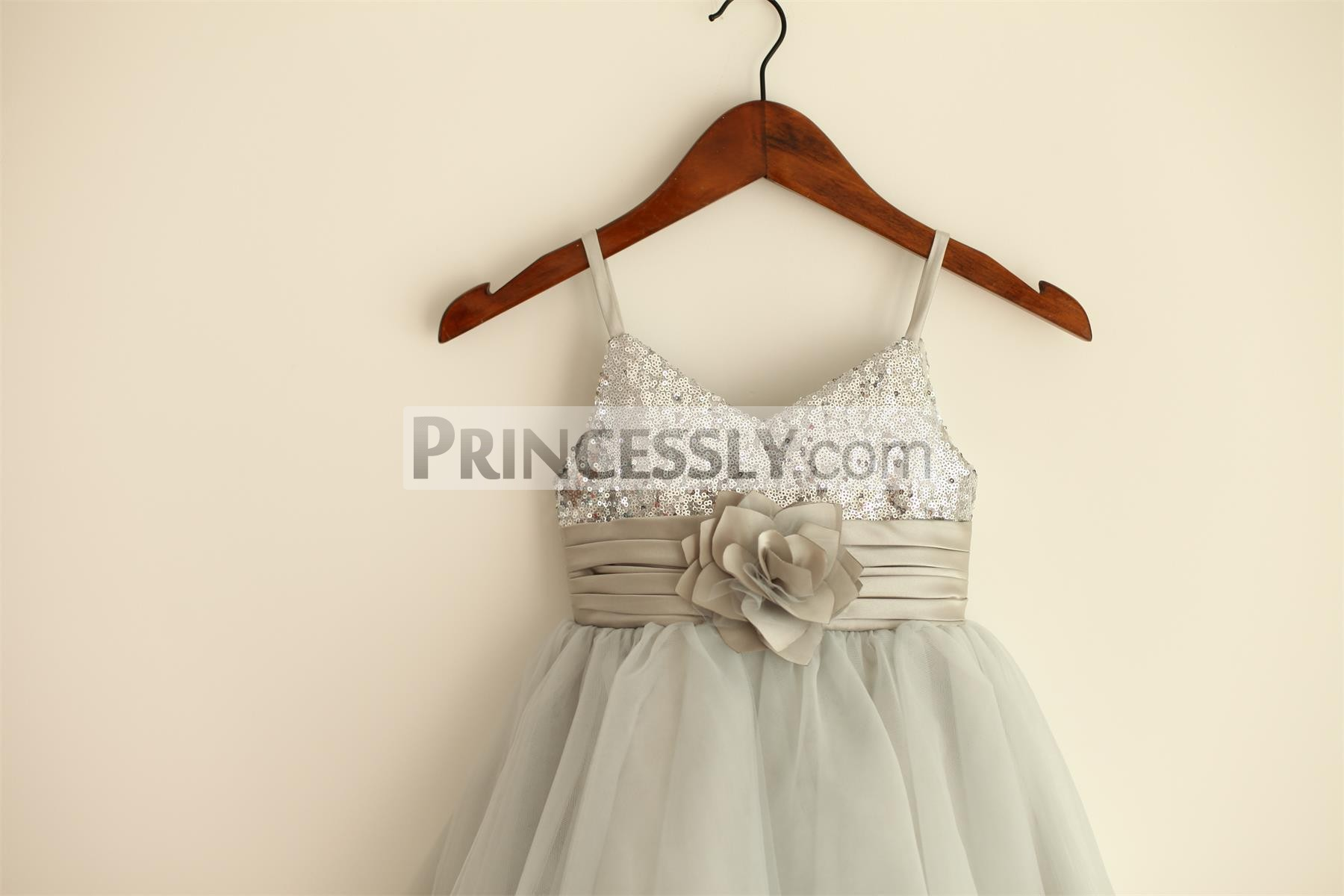 Spaghetti straps silver sequin bodice with pleated satin waistband & flower