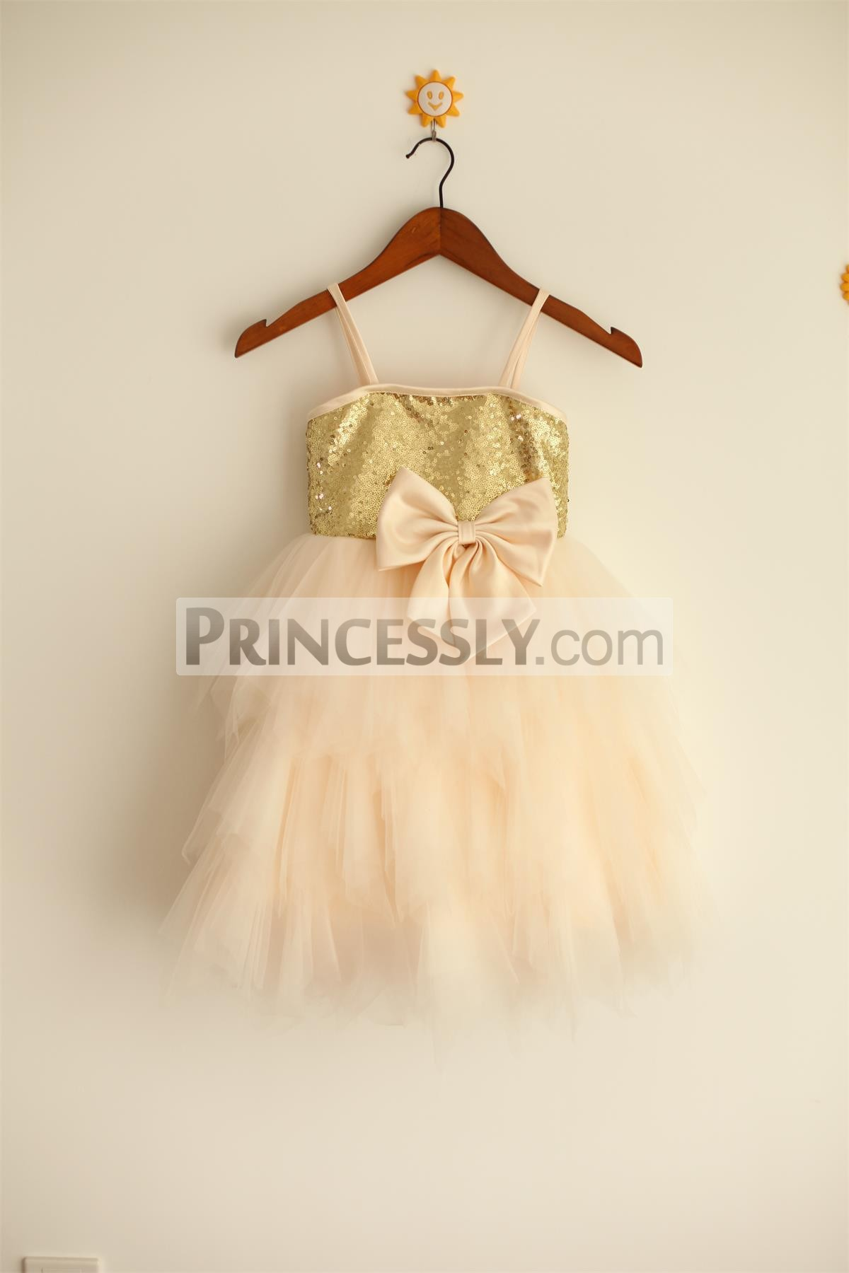 Thin straps gold sequins champagne tulle flower girl dress