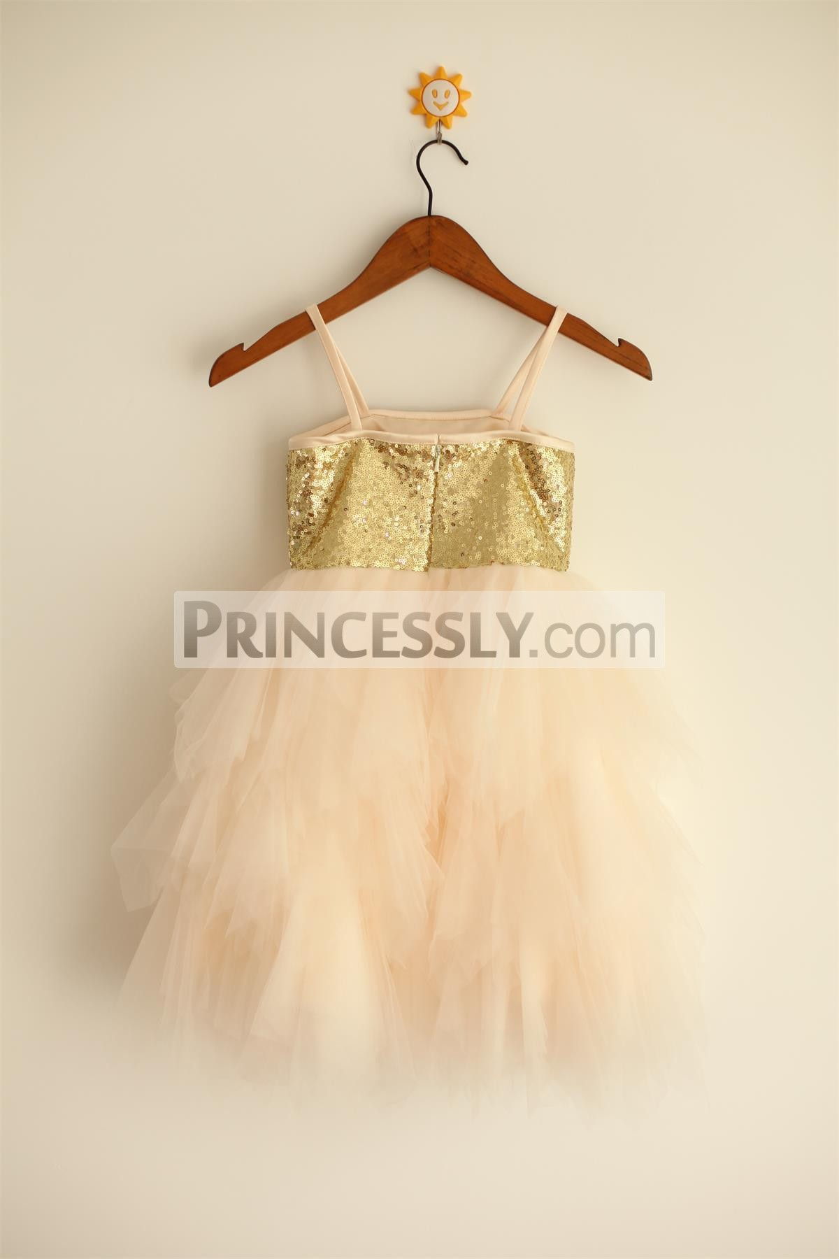 Thin straps gold sequins champagne tulle ruffled wedding baby girl dress