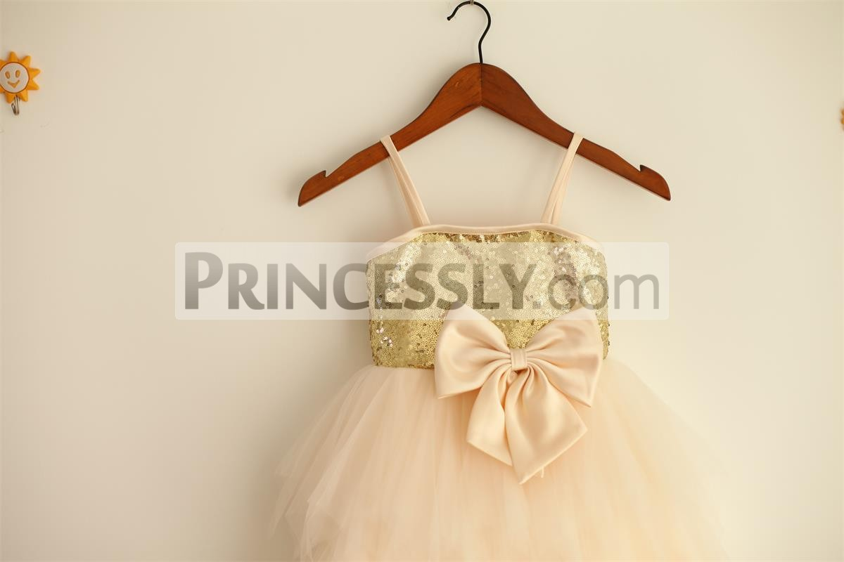 Thin straps gold sequined bodice with a pre-made bow