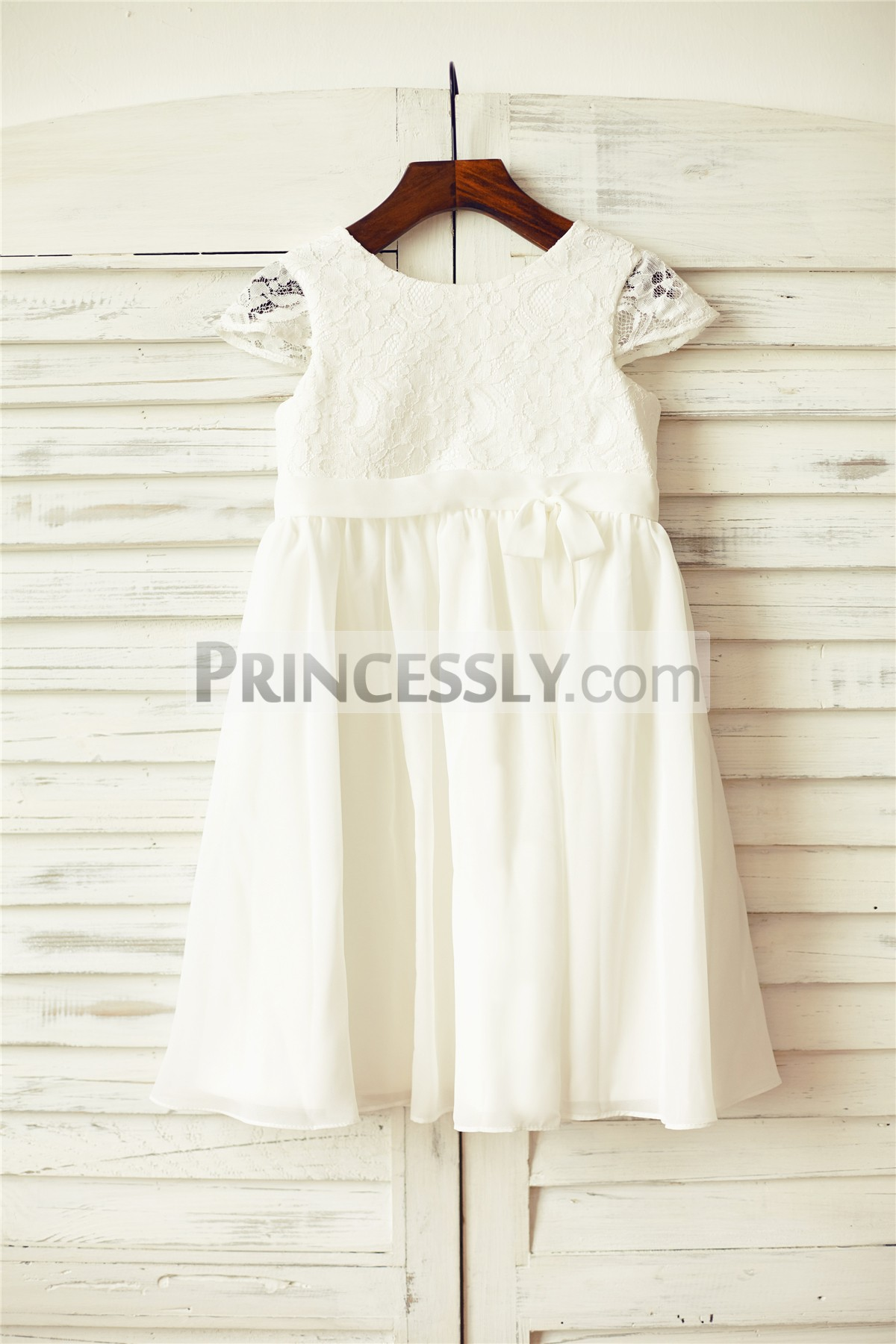 Ivory lace sheer cap sleeves chiffon flower girl dress