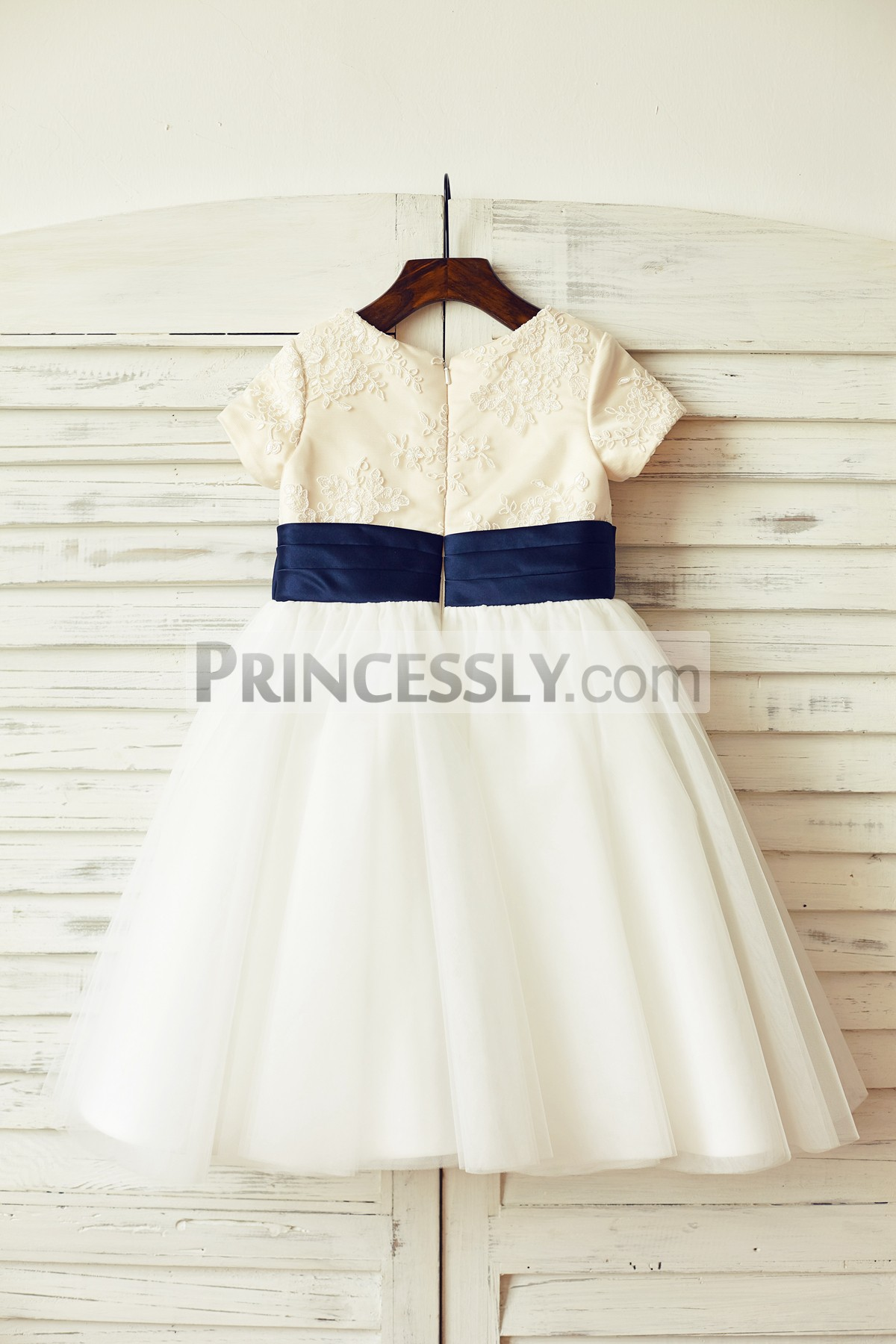 Short Sleeves Ivory Lace Tulle Flower Girl Dress With Navy