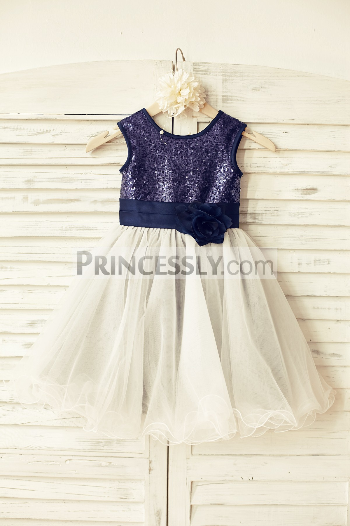 3f13cf71c9 Navy Blue Sequin Ivory Tulle Flower Girl Dress with Navy Blue Belt ...