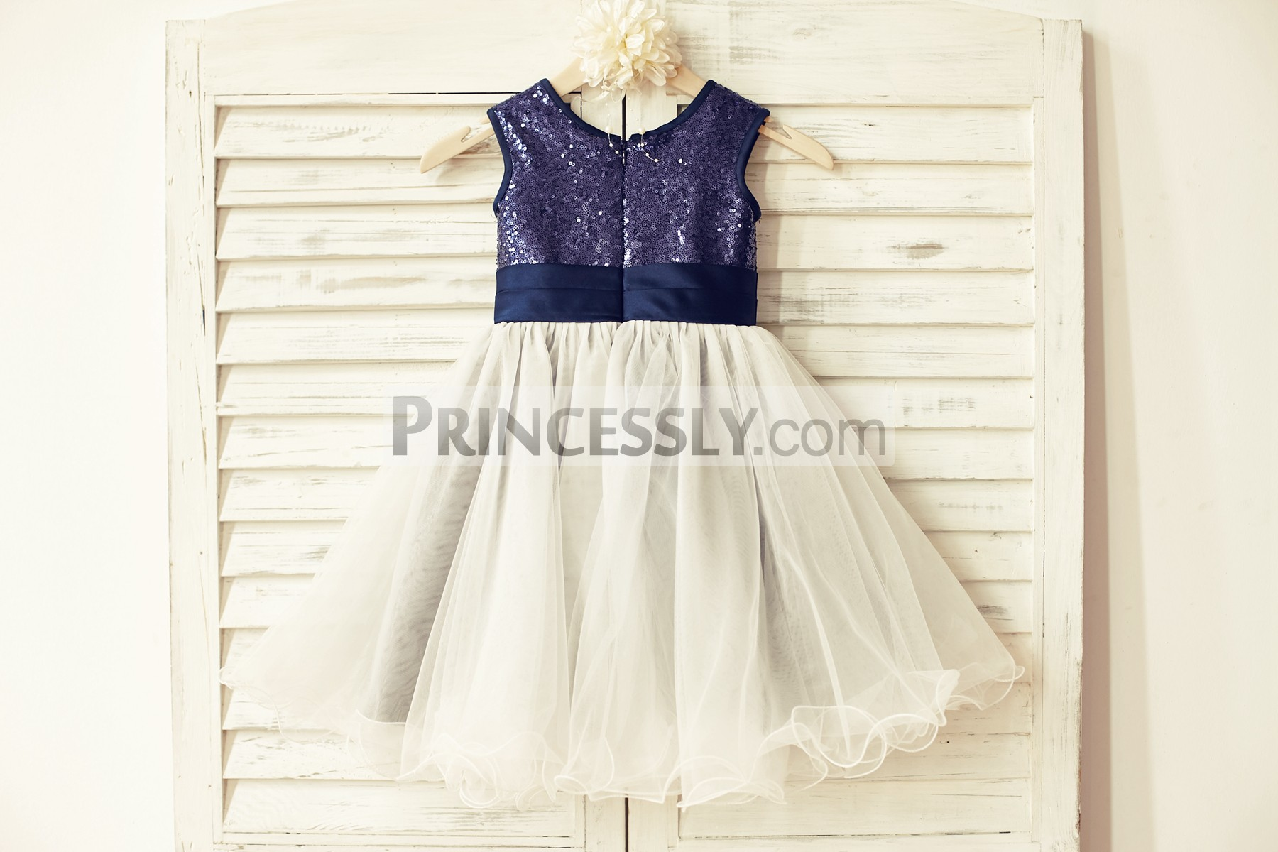 Navy blue sequin ivory tulle curly hem wedding baby girl dress