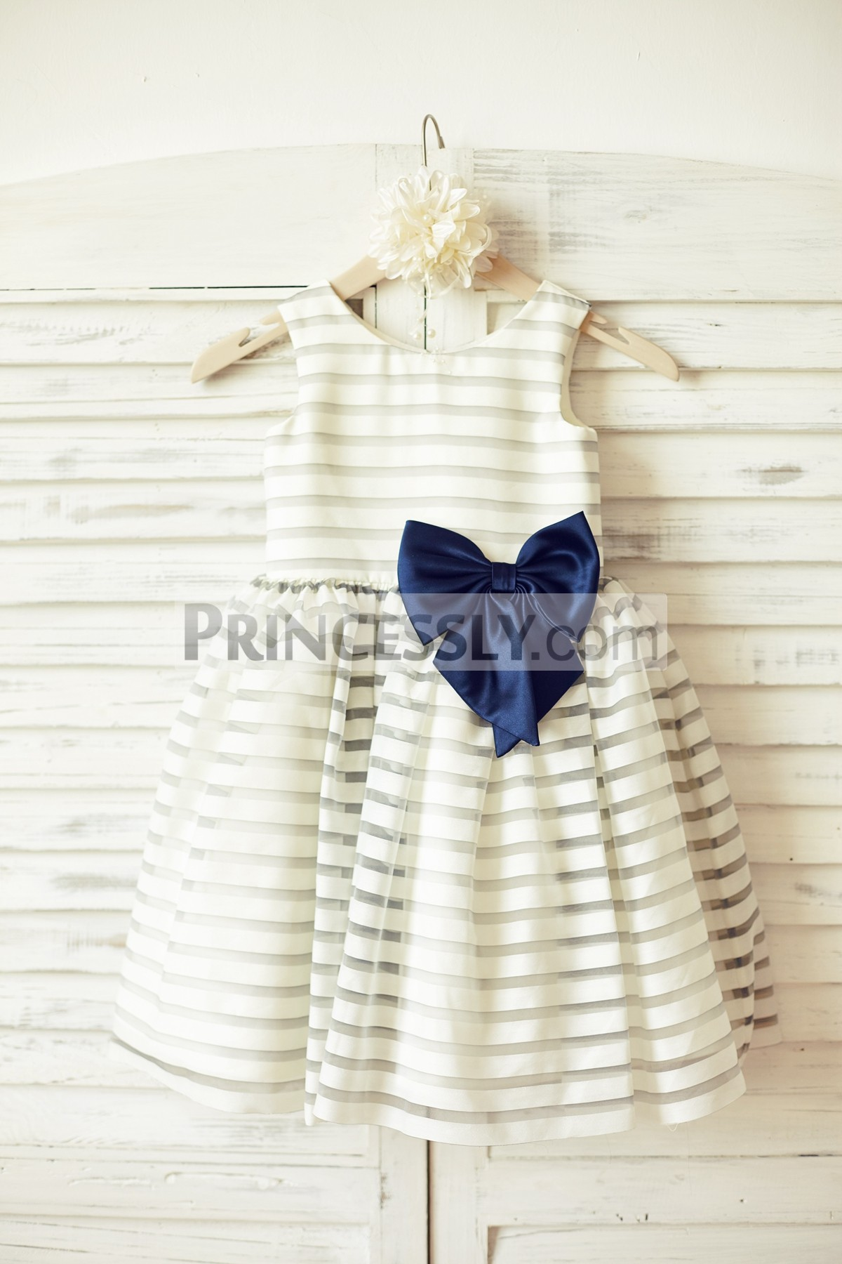 Ivory gray stripes organza flower girl dress with navy blue bow