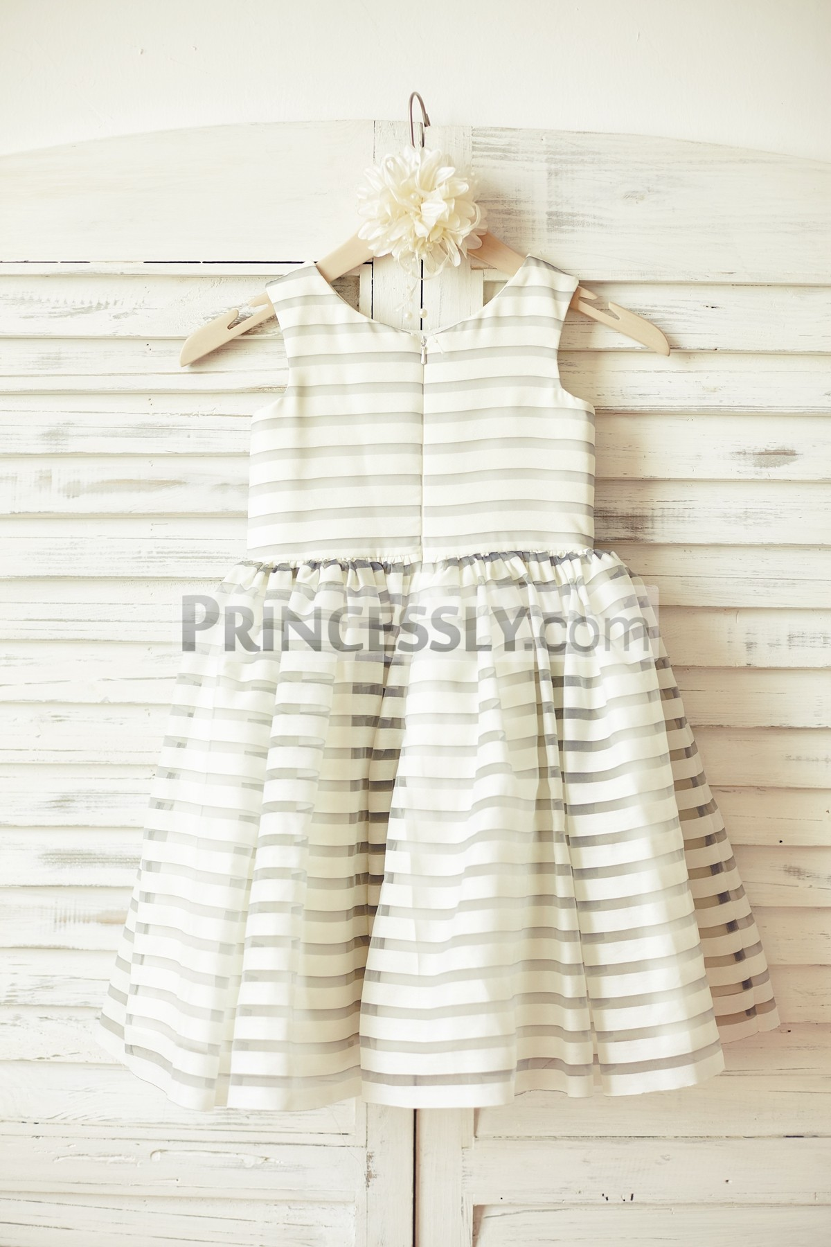 Ivory gray stripes organza wedding baby girl dress