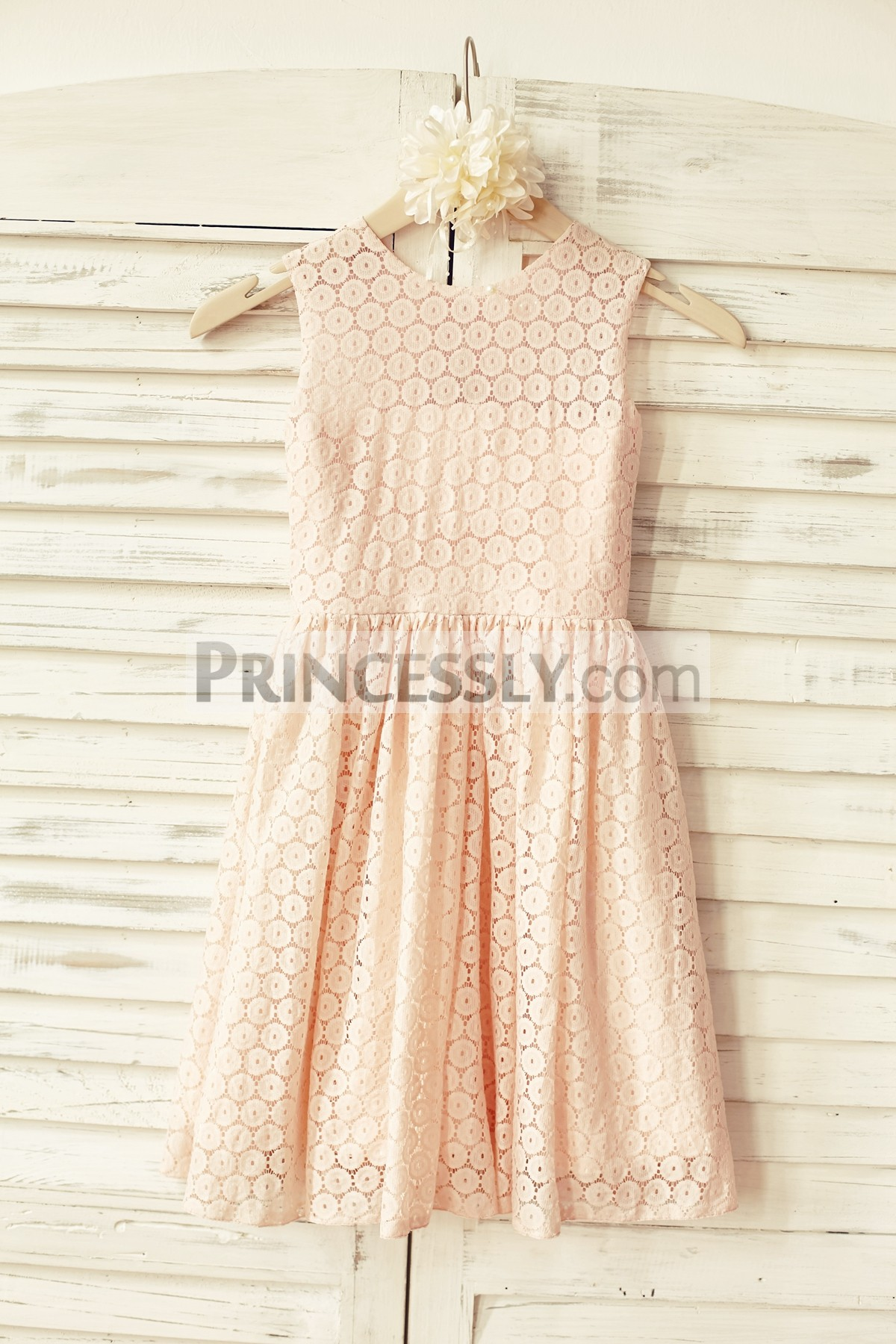 Blush pink dotted lace flower girl dress