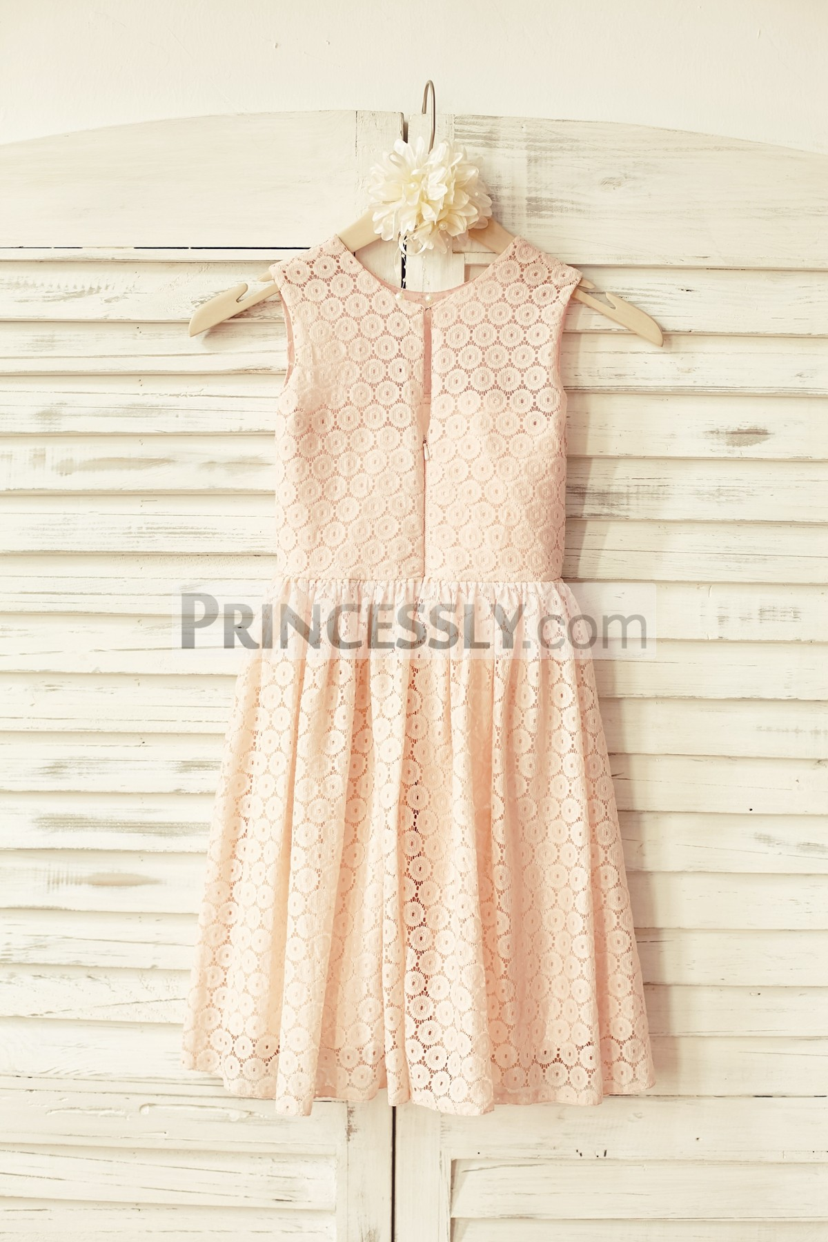 Scoop neck sleeveless blush pink lace wedding baby girl dress