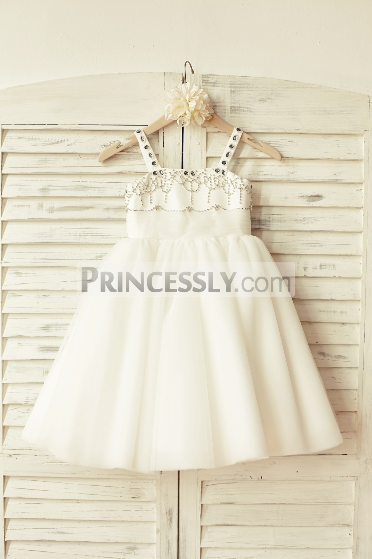 Beaded ivory satin tulle tutu flower girl dress