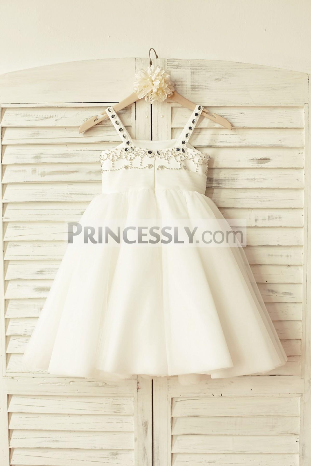 Thin straps beaded ivory satin tulle princess tutu wedding baby girl dress