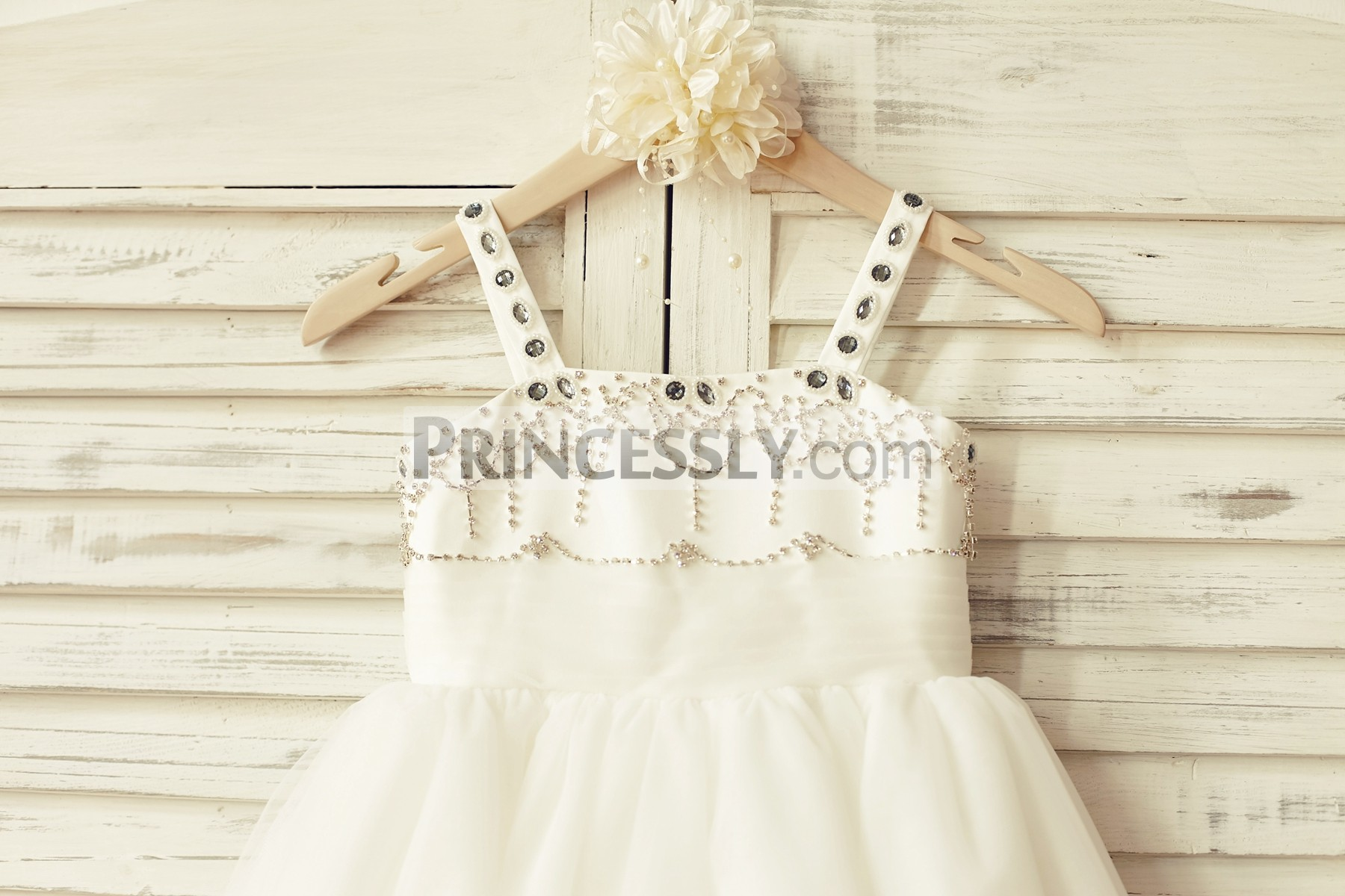 Crystals thin straps beaded bodice flared princess TUTU skirt