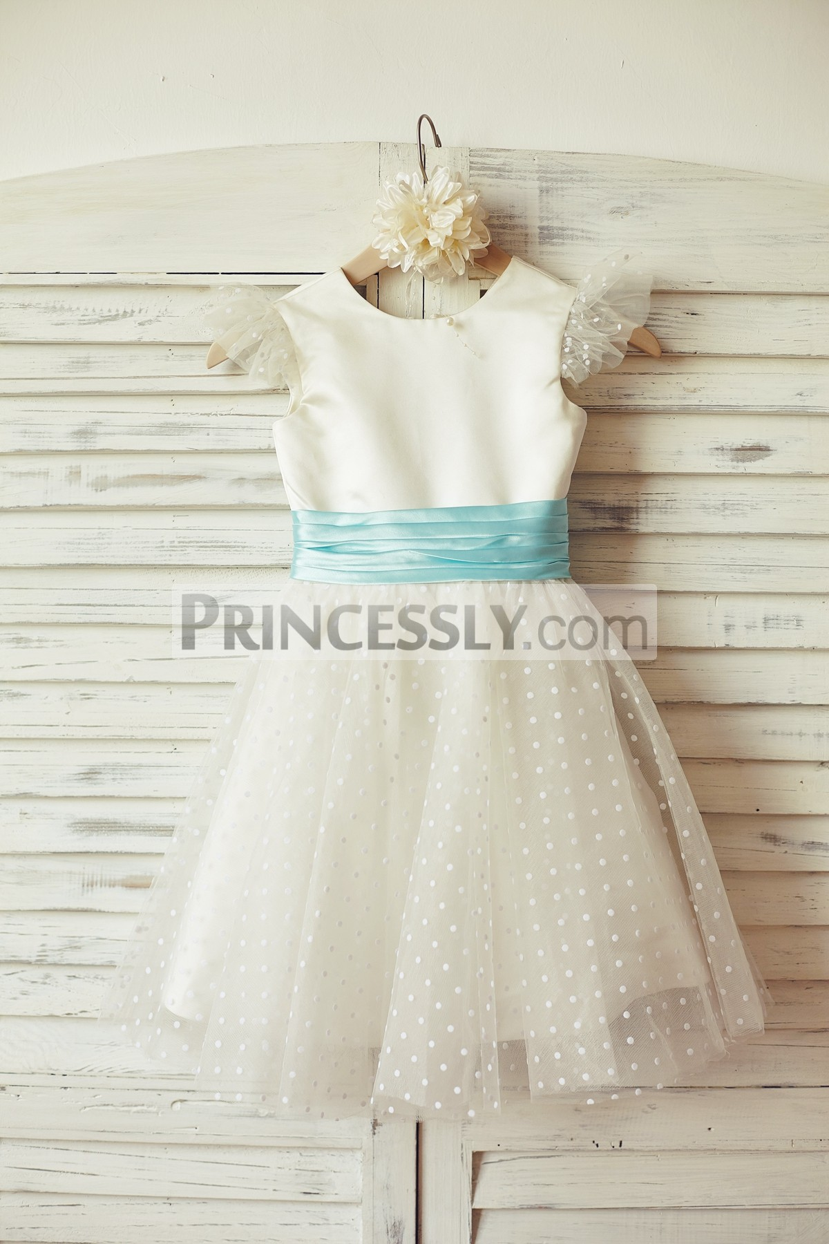 Cap sleeves ivory satin dotted tulle flower girl dress with blue sash