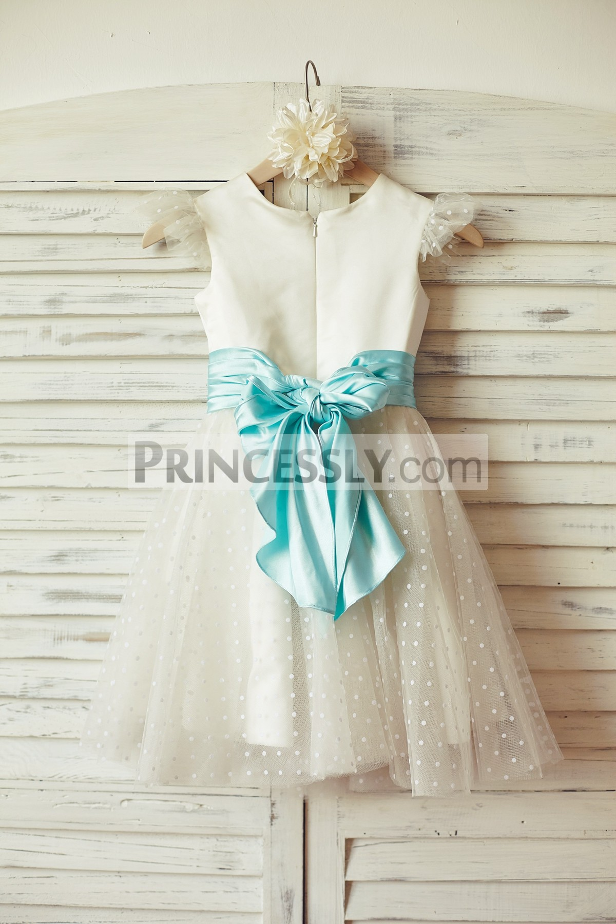 Ivory satin dotted tulle wedding baby girl dress