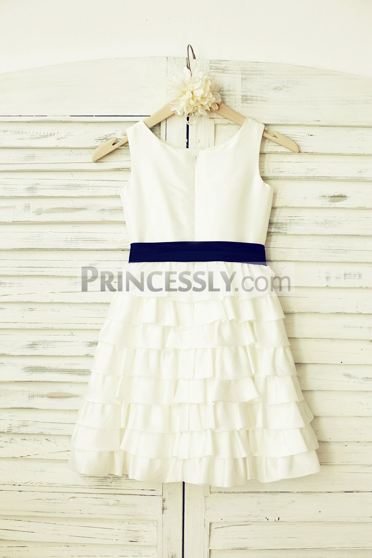 Scoop neck sleeveless ivory taffeta cupcake wedding baby girl dress