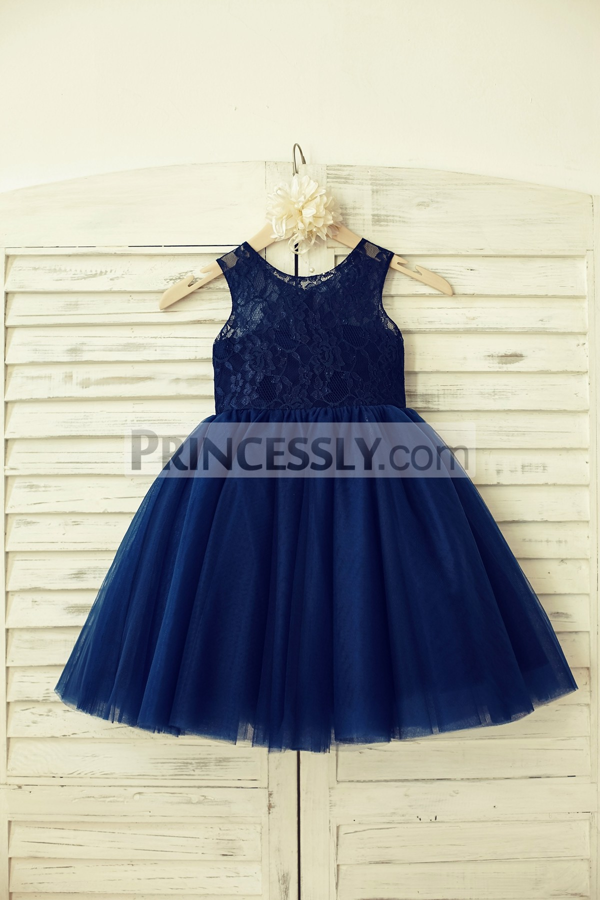 Navy blue lace tulle princess flower girl dress