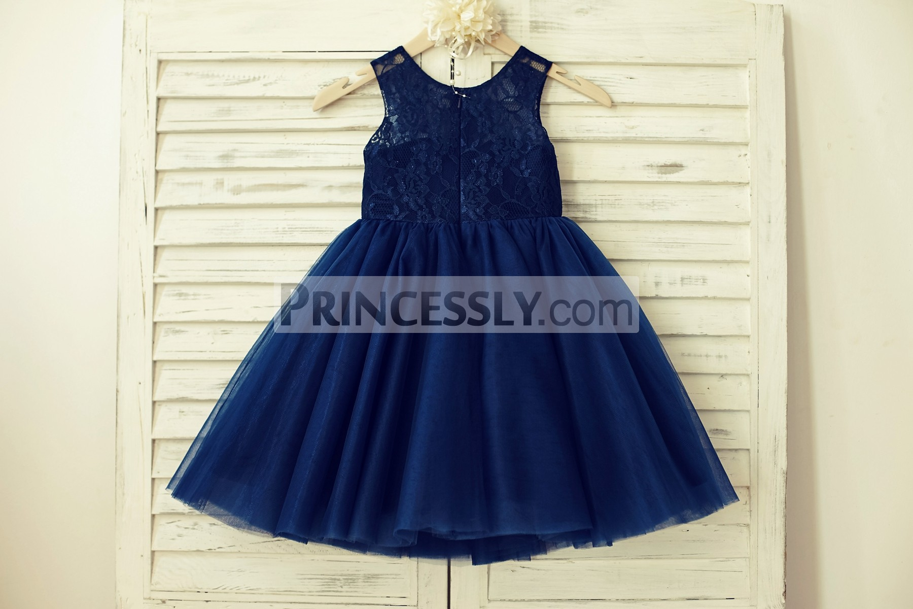Scoop neck sleeveless navy blue lace tulle wedding baby girl dress