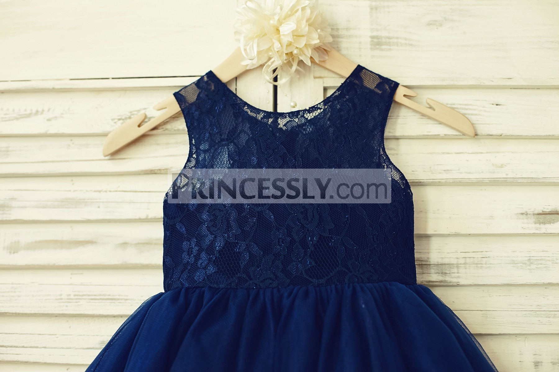 Sleeveless navy blue lace bodice with inside sweetheart neckline