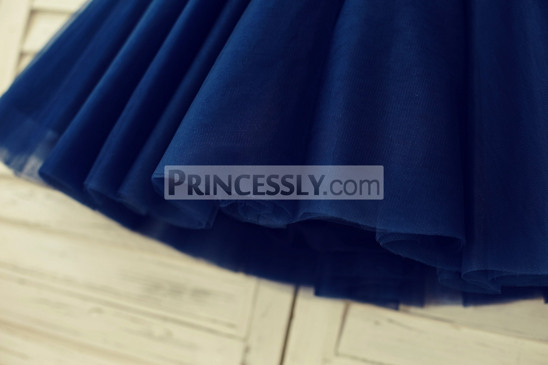 Multi-layered bridal navy blue tulle skirt