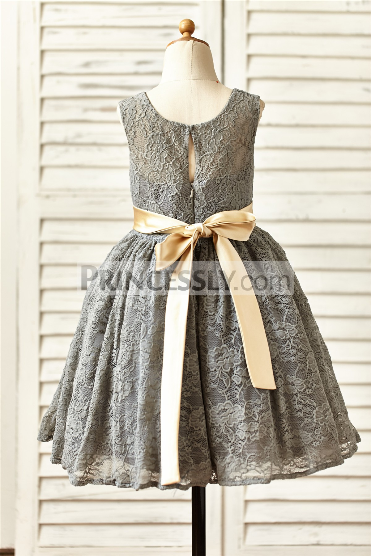 Gray lace puffy skirt wedding baby girl dress with champagne sash