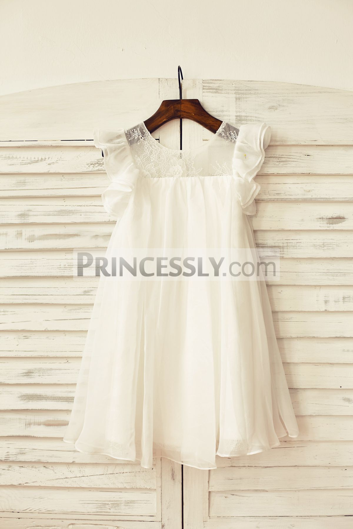 Sheer neck ruffled cap sleeves ivory chiffon flower girl dress
