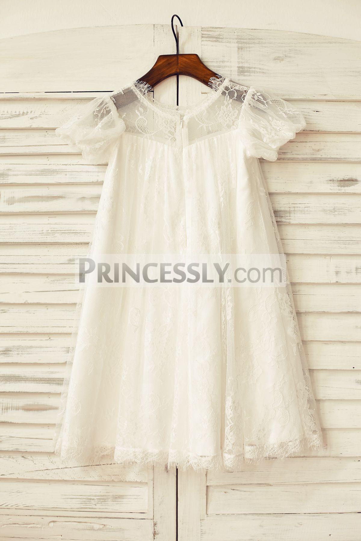 Sheer Short Puffy Sleeves Ivory Eyelash Lace Wedding