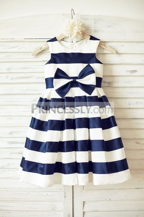 Princessly.com-K1000188-Ivory-Navy-Blue-Stripes-Satin-Flower-Girl-Dress-with-bow-31