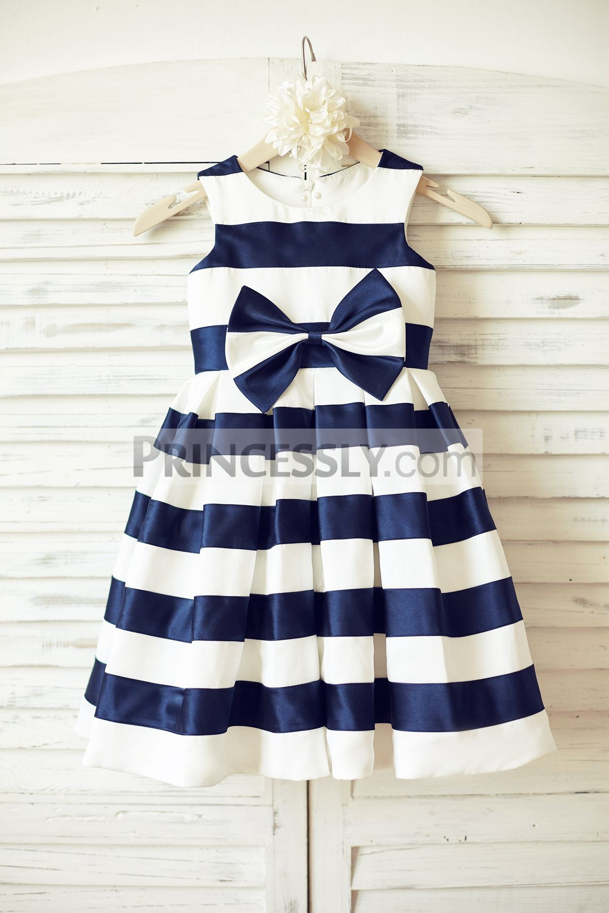 Ivory navy blue satin stripes flower girl dress with bow
