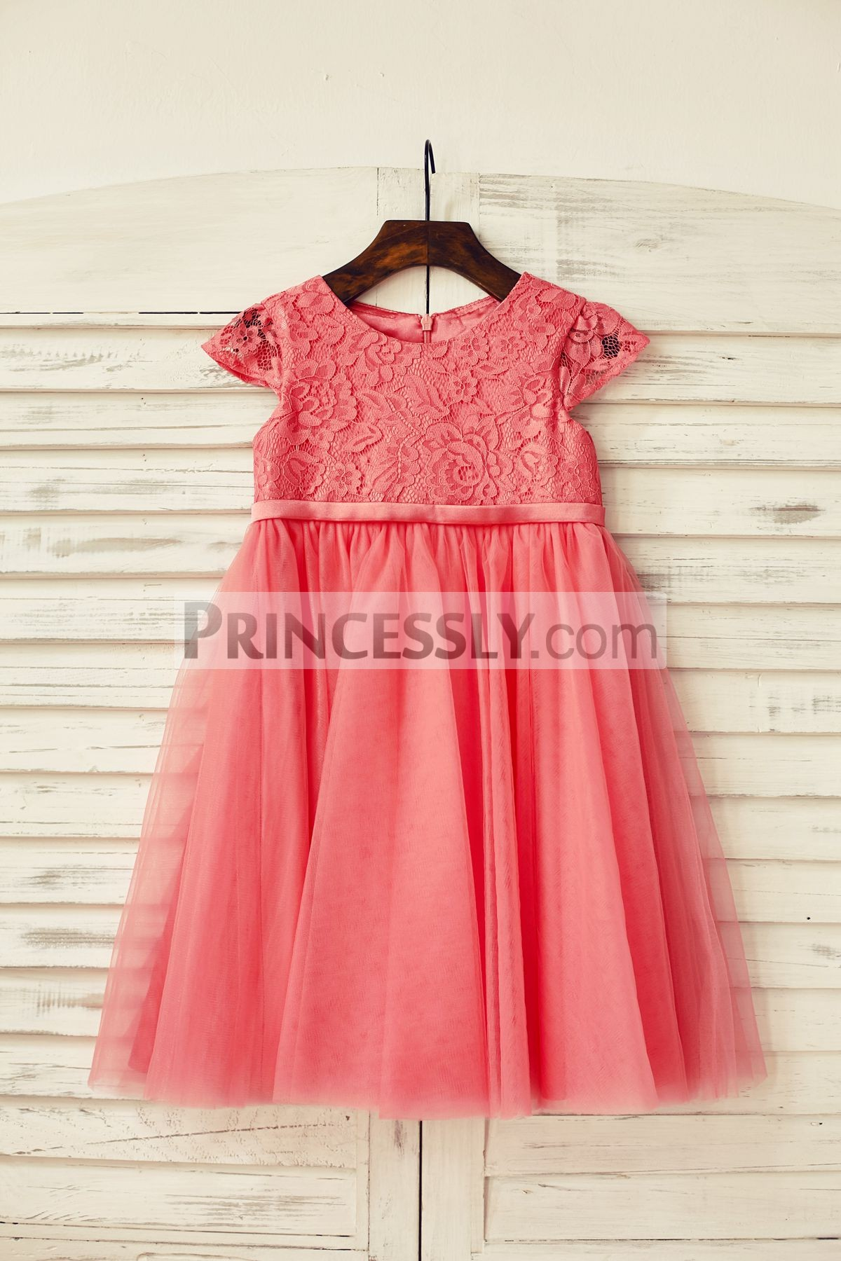 Cap sleeves coral lace tulle flower girl dress with belt