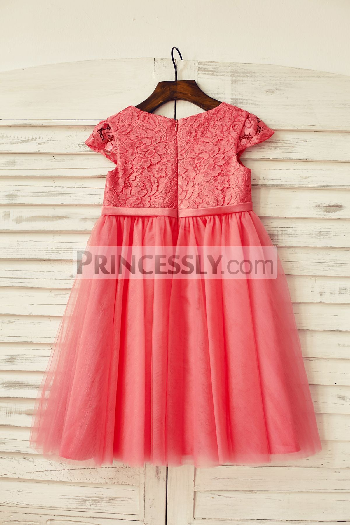 Sheer cap sleeves coral lace tulle wedding baby girl dress