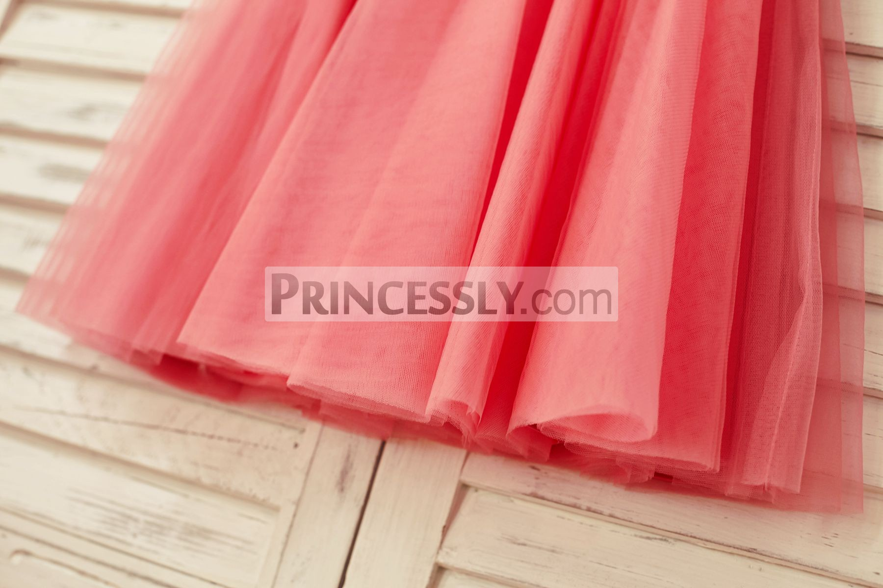 Layered pleated coral tulle skirt