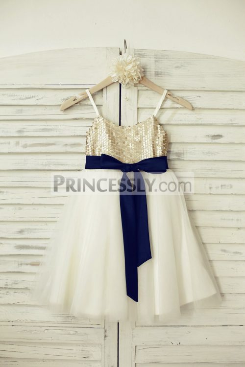 Princessly.com-K1000209-Thin-Straps-Champagne-Sequin-Tulle-Flower-Girl-Dress-with-navy-blue-belt-31