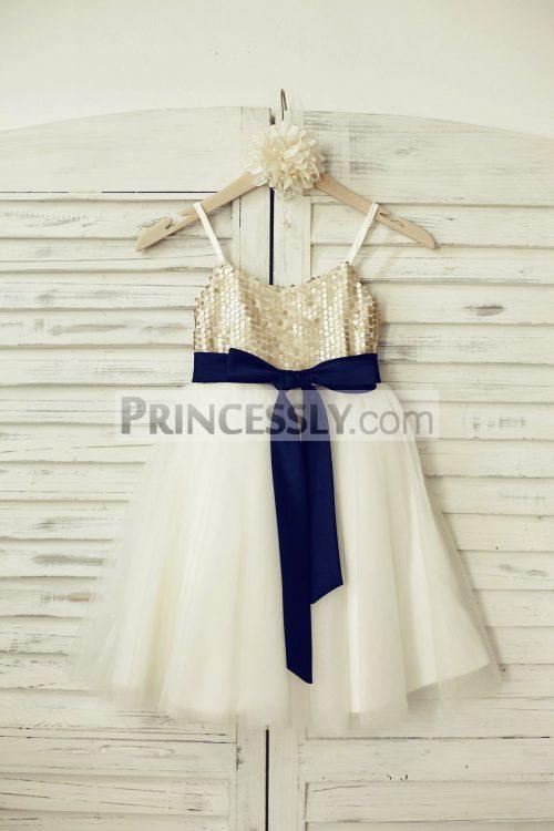 Princessly.com-K1000209-Thin-Straps-Champagne-Sequin-Tulle-Flower-Girl-Dress-with-navy-blue-belt-31