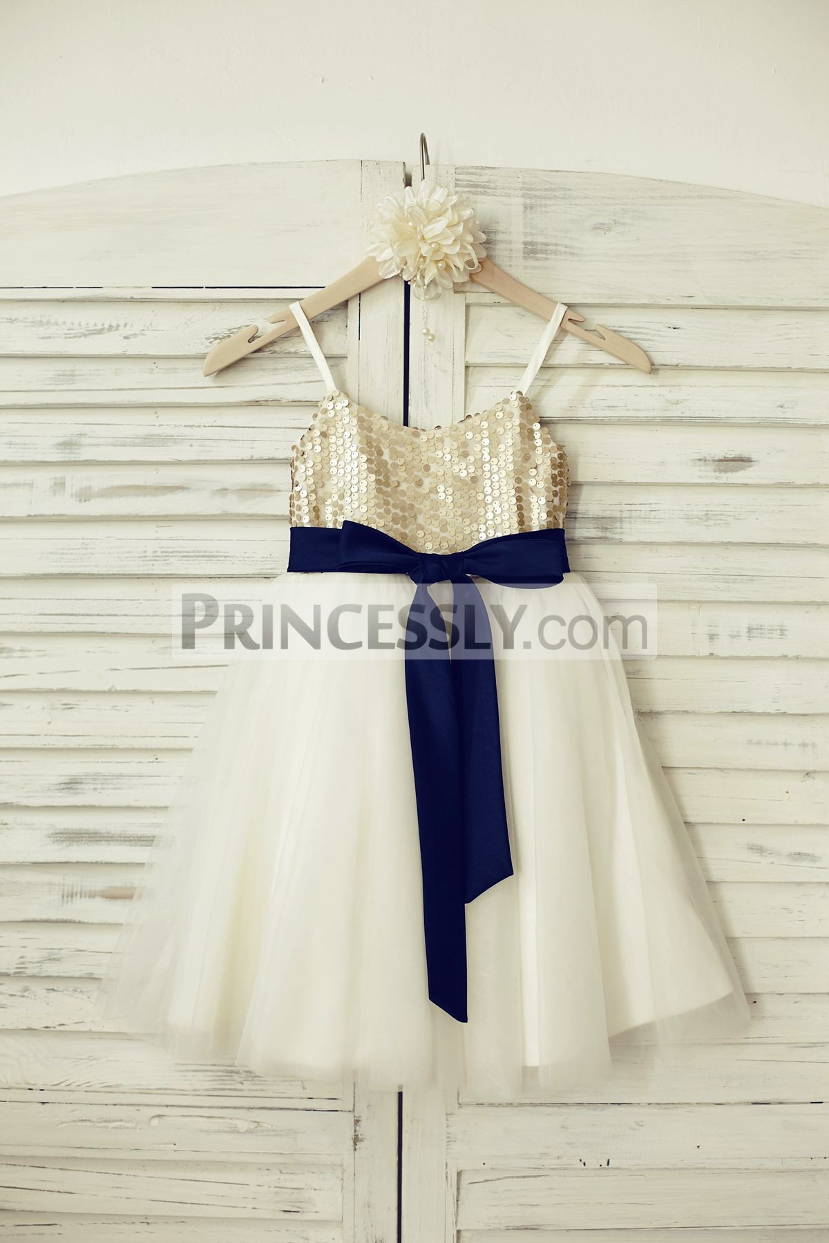 298c0347f Spaghetti Straps Champagne Sequin Ivory Tulle Flower Girl Dress with ...