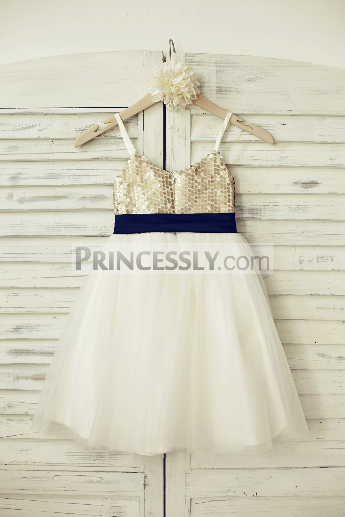 Champagne sequins ivory tulle wedding baby girl dress with navy blue sash